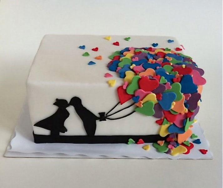 Eine Torte zum einjährigen Hochzeitstag oder für einen Geburtstag ...